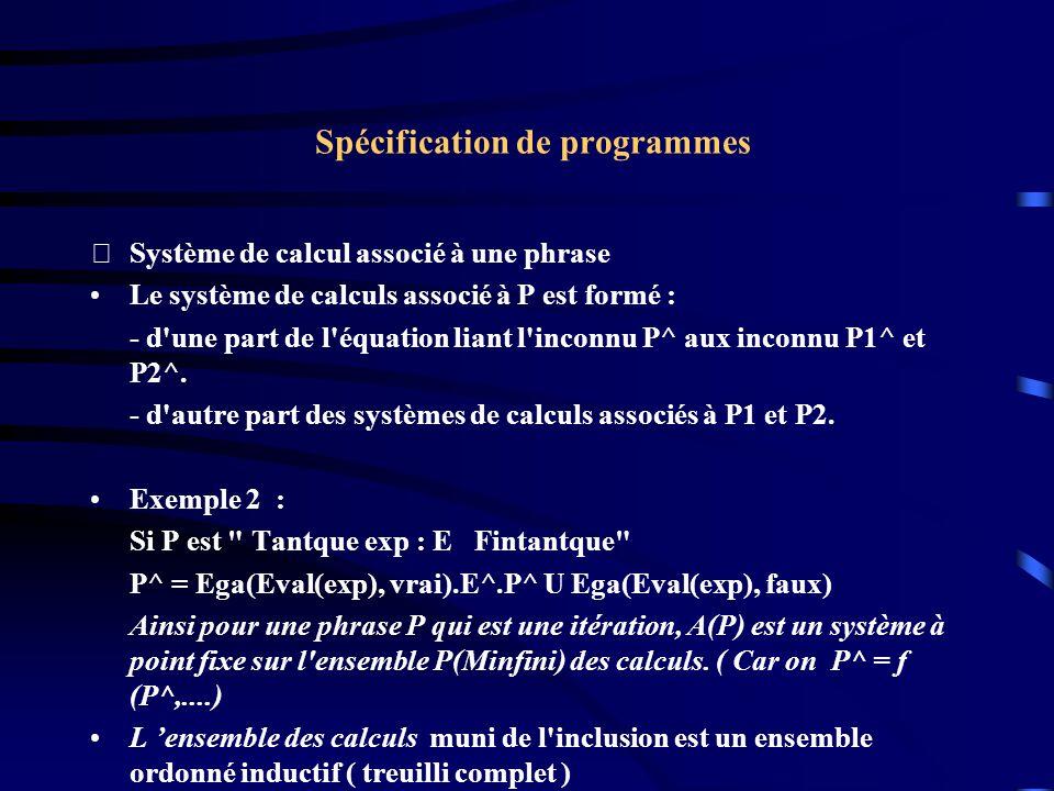 Spécification de programmes Système de calcul associé à une phrase Le système de calculs associé à P est formé : - d une part de l équation liant l inconnu P^ aux inconnu P1^ et P2^.