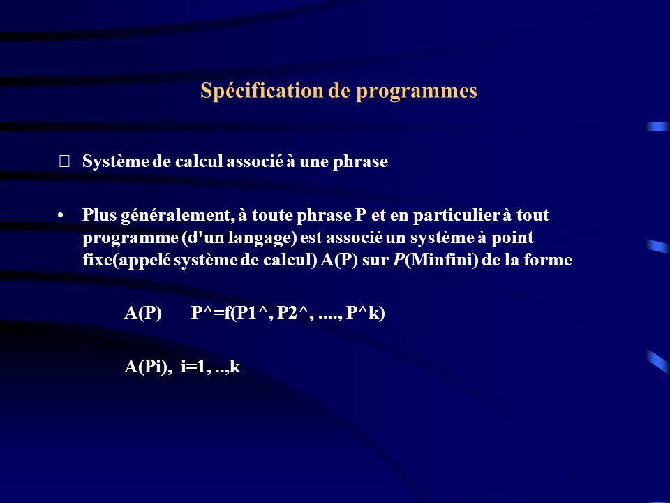 Spécification de programmes Système de calcul associé à une phrase Plus généralement, à toute phrase P et en particulier à tout programme (d un langage) est associé un système à point fixe(appelé système de calcul) A(P) sur P(Minfini) de la forme A(P) P^=f(P1^, P2^,...., P^k) A(Pi), i=1,..,k