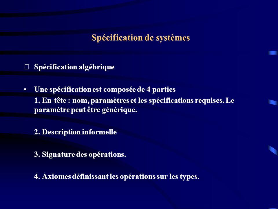 Spécification de systèmes Spécification algébrique Une spécification est composée de 4 parties 1.