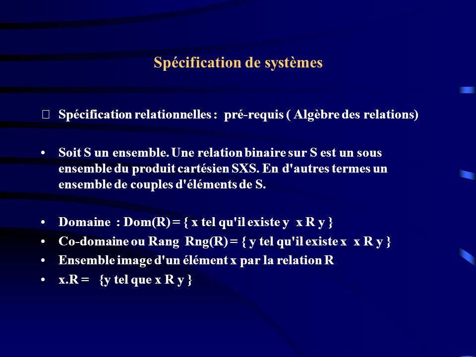 Spécification de systèmes Spécification relationnelles : pré-requis ( Algèbre des relations) Soit S un ensemble.
