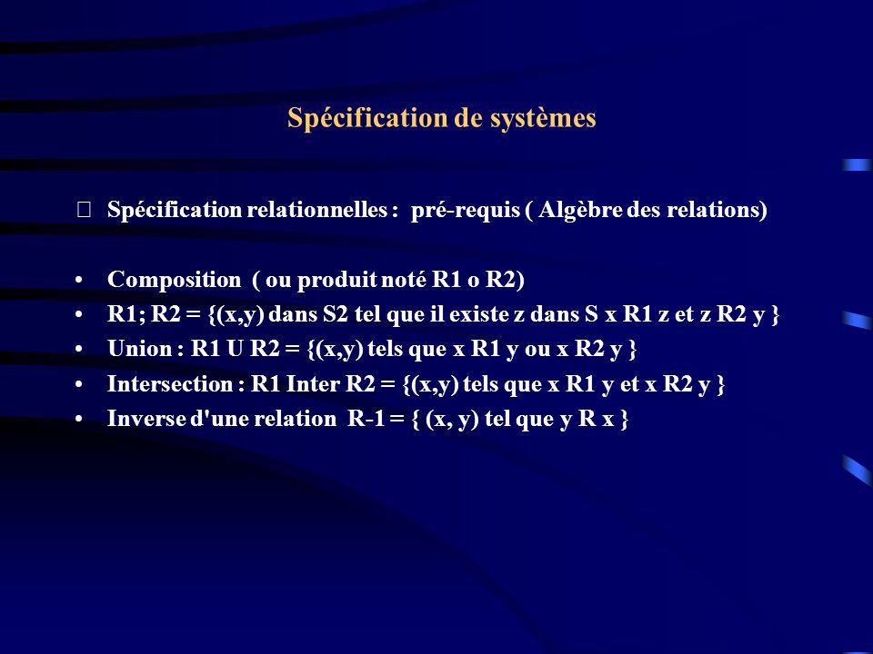 Spécification de systèmes Spécification relationnelles : pré-requis ( Algèbre des relations) Composition ( ou produit noté R1 o R2) R1; R2 = {(x,y) dans S2 tel que il existe z dans S x R1 z et z R2 y } Union : R1 U R2 = {(x,y) tels que x R1 y ou x R2 y } Intersection : R1 Inter R2 = {(x,y) tels que x R1 y et x R2 y } Inverse d une relation R-1 = { (x, y) tel que y R x }