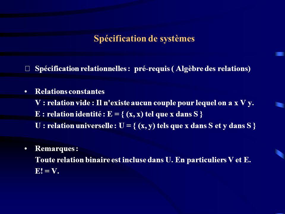 Spécification de systèmes Spécification relationnelles : pré-requis ( Algèbre des relations) Relations constantes V : relation vide : Il n existe aucun couple pour lequel on a x V y.