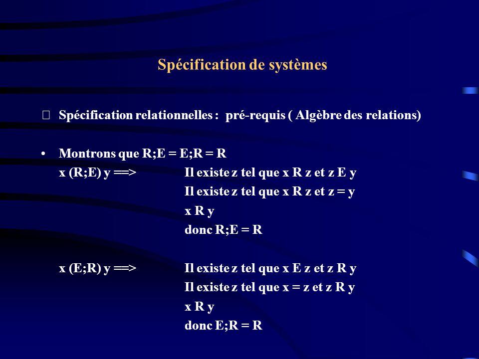 Spécification de systèmes Spécification relationnelles : pré-requis ( Algèbre des relations) Montrons que R;E = E;R = R x (R;E) y ==> Il existe z tel que x R z et z E y Il existe z tel que x R z et z = y x R y donc R;E = R x (E;R) y ==> Il existe z tel que x E z et z R y Il existe z tel que x = z et z R y x R y donc E;R = R