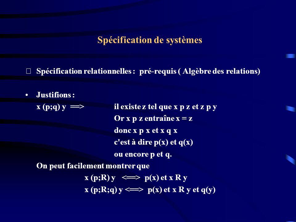 Spécification de systèmes Spécification relationnelles : pré-requis ( Algèbre des relations) Justifions : x (p;q) y ==>il existe z tel que x p z et z p y Or x p z entraîne x = z donc x p x et x q x c est à dire p(x) et q(x) ou encore p et q.