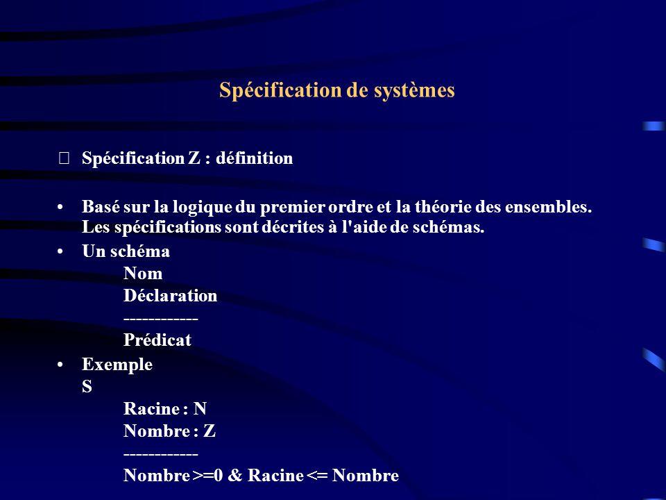 Spécification de systèmes Spécification Z : définition Basé sur la logique du premier ordre et la théorie des ensembles.