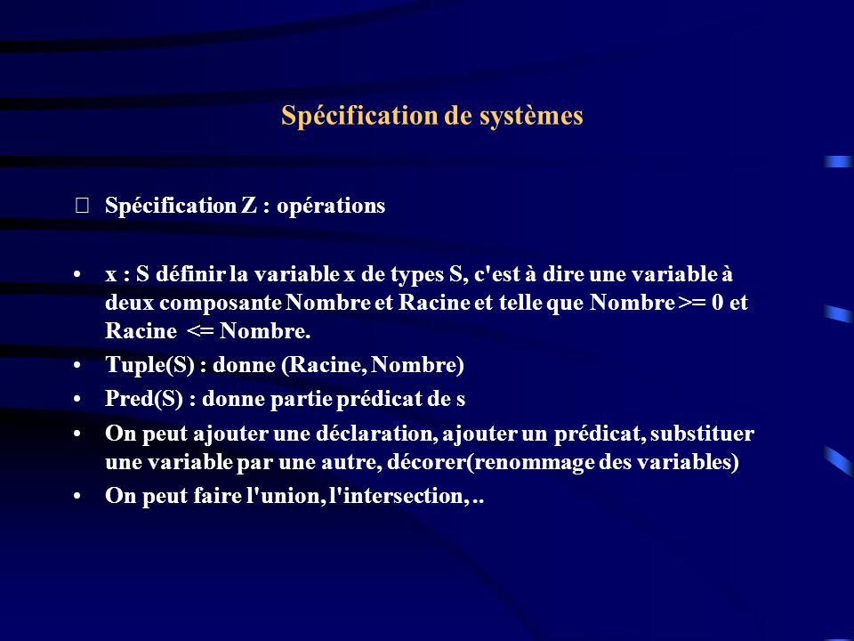 Spécification de systèmes Spécification Z : opérations x : S définir la variable x de types S, c est à dire une variable à deux composante Nombre et Racine et telle que Nombre >= 0 et Racine <= Nombre.