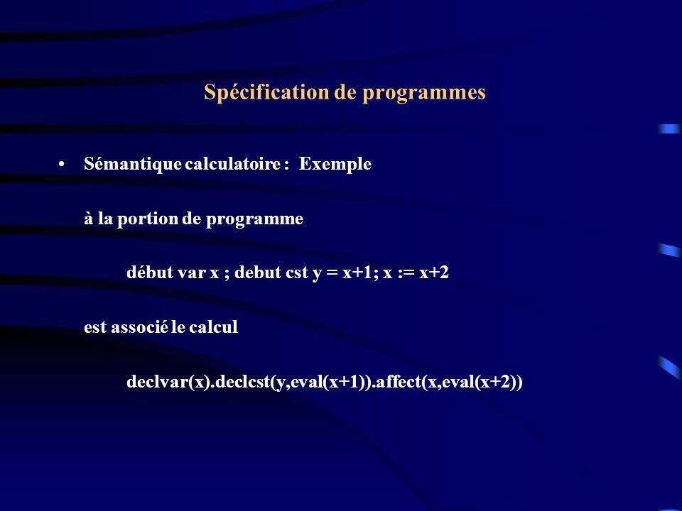 Spécification de programmes Sémantique calculatoire : Exemple à la portion de programme début var x ; debut cst y = x+1; x := x+2 est associé le calcul declvar(x).declcst(y,eval(x+1)).affect(x,eval(x+2))