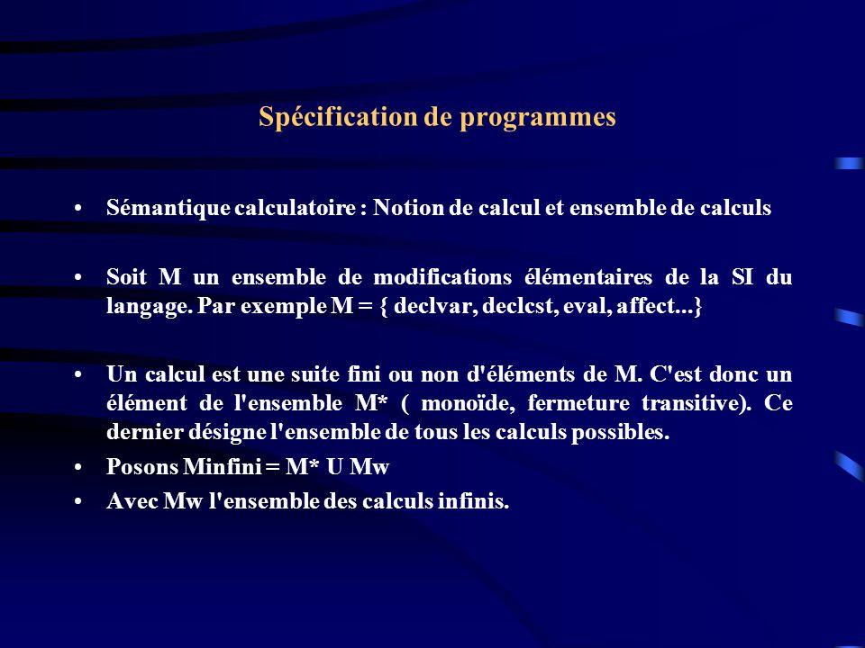 Spécification de programmes Sémantique calculatoire : Notion de calcul et ensemble de calculs Soit M un ensemble de modifications élémentaires de la SI du langage.