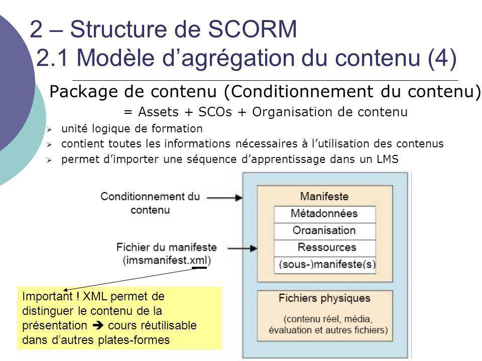 2 – Structure de SCORM 2.1 Modèle d'agrégation du contenu (4) Package de contenu (Conditionnement du contenu) =Assets + SCOs + Organisation de contenu
