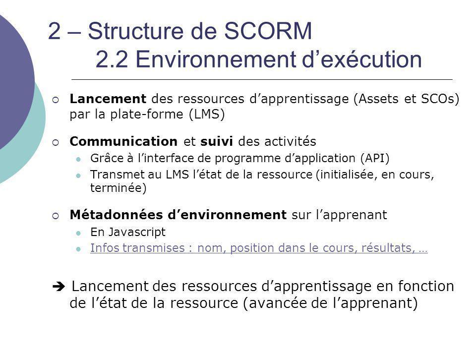 2 – Structure de SCORM 2.2 Environnement d'exécution  Lancement des ressources d'apprentissage (Assets et SCOs) par la plate-forme (LMS)  Communicat