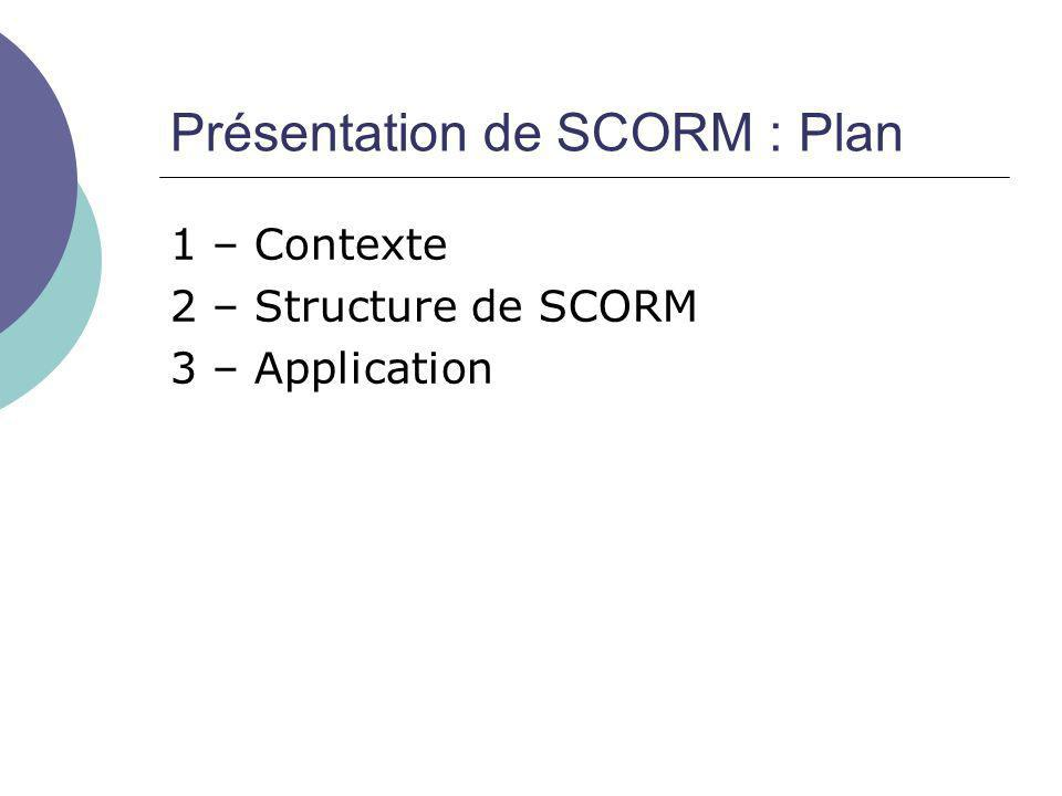 Présentation de SCORM : Plan 1 – Contexte 2 – Structure de SCORM 3 – Application
