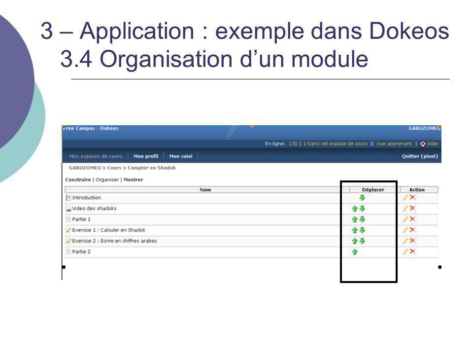 3 – Application : exemple dans Dokeos 3.4 Organisation d'un module