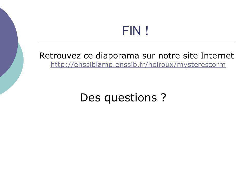 FIN ! Retrouvez ce diaporama sur notre site Internet http://enssiblamp.enssib.fr/noiroux/mysterescorm http://enssiblamp.enssib.fr/noiroux/mysterescorm