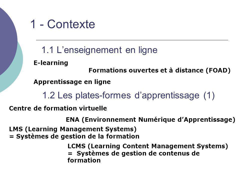 1 – Contexte 1.2 Plates-formes d'apprentissage (2)  ≠ entrepôt de cours et de ressources pédagogiques (cours monobloc) ex : UNIT http://www.unit.eu/http://www.unit.eu/ Cours en ligne du CCSD http://cel.archives-ouvertes.fr/http://cel.archives-ouvertes.fr/  Individualisation des parcours Notion d' « objets d'apprentissage » = « grains »  Fonctions d'un CMS adaptées aux contenus pédagogiques Permet, à partir d'une architecture technique, de créer et de gérer des contenus adaptés aux problématiques de la formation en ligne Qu'est-ce qu'une plate-forme d'apprentissage ?