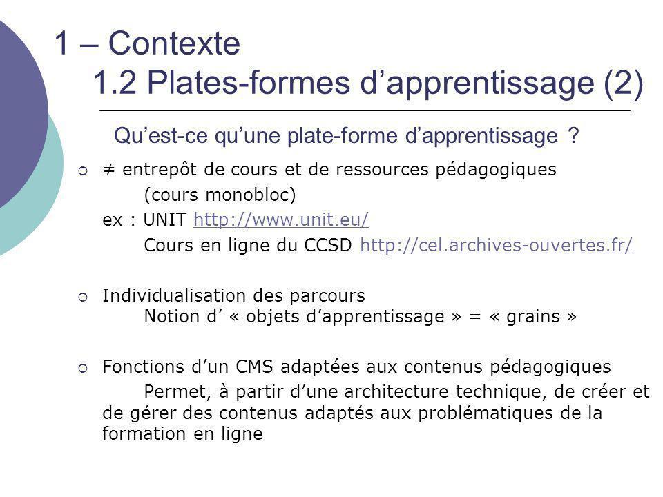 1 – Contexte 1.2 Plates-formes d'apprentissage (2)  ≠ entrepôt de cours et de ressources pédagogiques (cours monobloc) ex : UNIT http://www.unit.eu/h