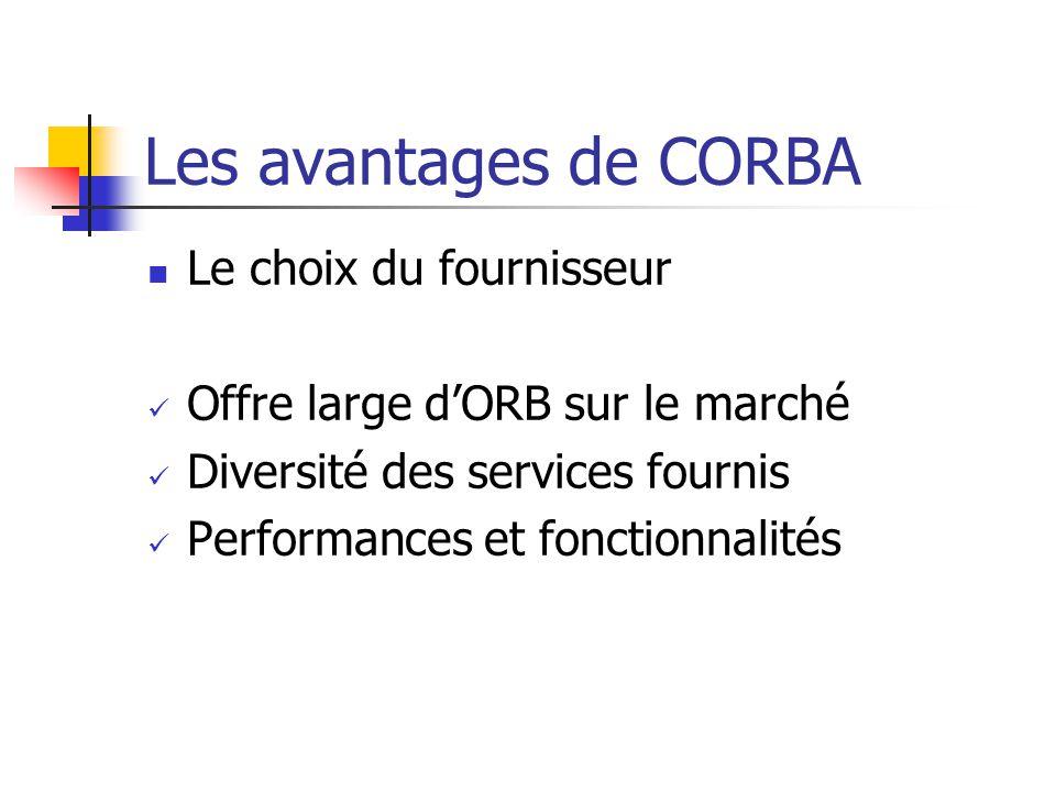Les avantages de CORBA Le choix du fournisseur Offre large d'ORB sur le marché Diversité des services fournis Performances et fonctionnalités