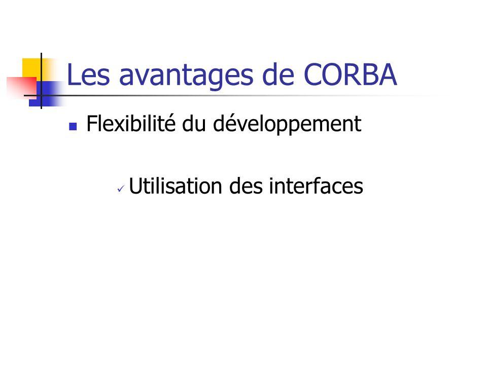 Les avantages de CORBA Flexibilité du développement Utilisation des interfaces