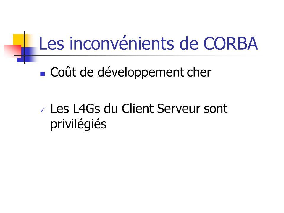 Les inconvénients de CORBA Coût de développement cher Les L4Gs du Client Serveur sont privilégiés