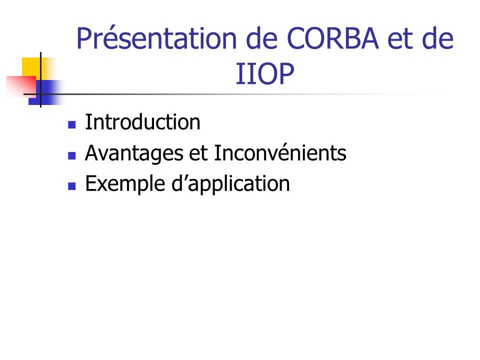 Introduction Avantages et Inconvénients Exemple d'application
