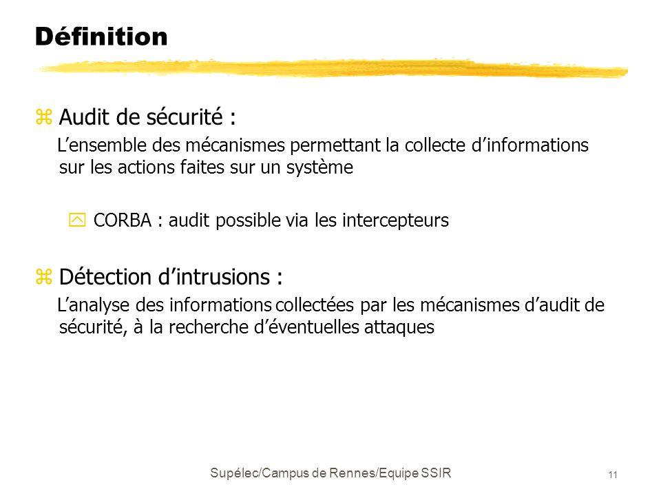 Supélec/Campus de Rennes/Equipe SSIR 11 Définition zAudit de sécurité : L'ensemble des mécanismes permettant la collecte d'informations sur les actions faites sur un système y CORBA : audit possible via les intercepteurs zDétection d'intrusions : L'analyse des informations collectées par les mécanismes d'audit de sécurité, à la recherche d'éventuelles attaques