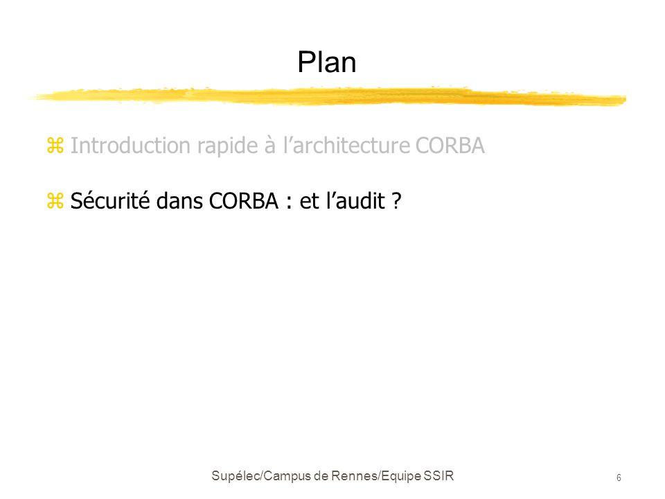 Supélec/Campus de Rennes/Equipe SSIR 6 Plan zIntroduction rapide à l'architecture CORBA zSécurité dans CORBA : et l'audit