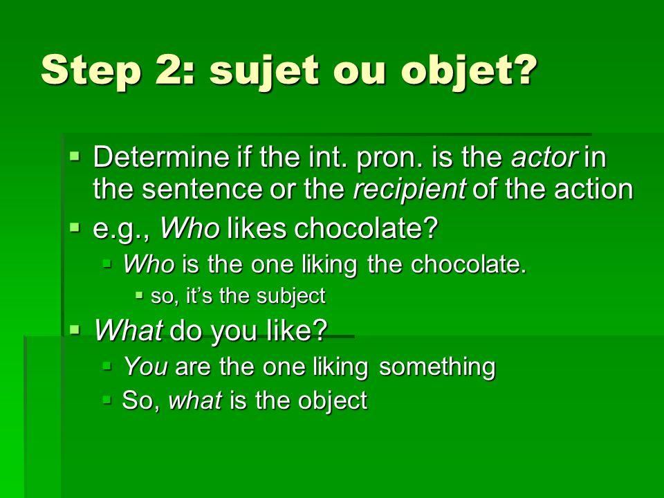 Subject forms  With est-ce qui  Qui est-ce qui for people  Qui est-ce qui aime le chocolat.