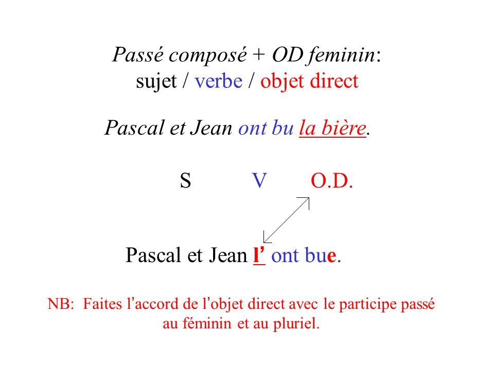 Passé composé + OD feminin: sujet / verbe / objet direct Pascal et Jean ont bu la bière. S V O.D. Pascal et Jean l ' ont bue. NB: Faites l ' accord de