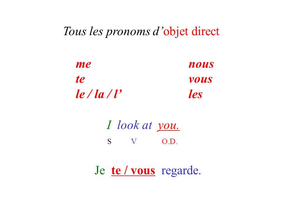 Tous les pronoms d'objet direct I look at you. S V O.D. Je te / vous regarde. menous tevous le / la / l'les