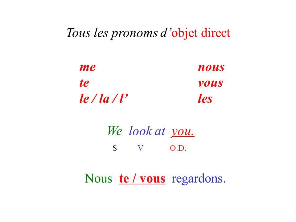 Tous les pronoms d'objet direct We look at you. S V O.D. Nous te / vous regardons. menous tevous le / la / l'les