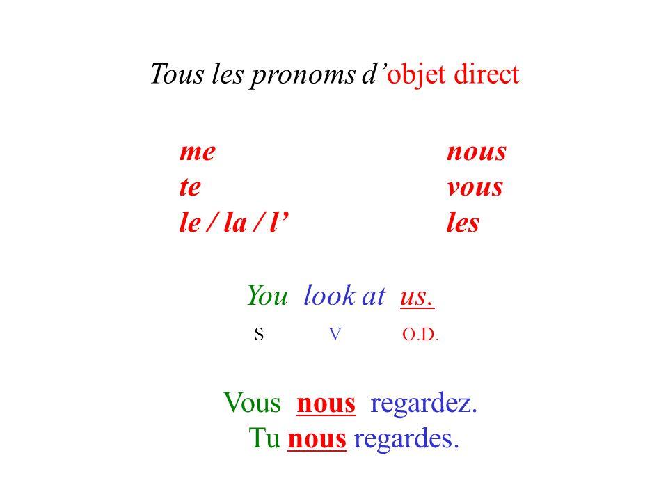 Tous les pronoms d'objet direct You look at us. S V O.D. Vous nous regardez. Tu nous regardes. menous tevous le / la / l'les