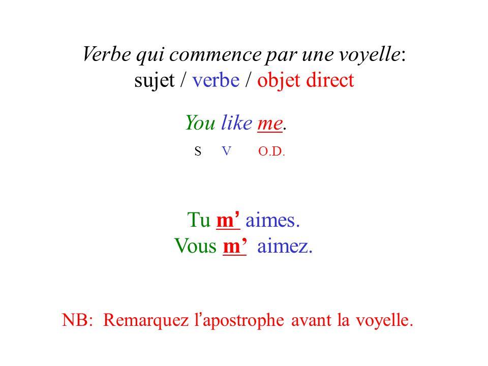 Verbe qui commence par une voyelle: sujet / verbe / objet direct You like me. S V O.D. Tu m ' aimes. Vous m' aimez. NB: Remarquez l ' apostrophe avant