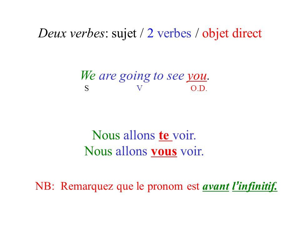 Deux verbes: sujet / 2 verbes / objet direct We are going to see you. S V O.D. Nous allons te voir. Nous allons vous voir. NB: Remarquez que le pronom