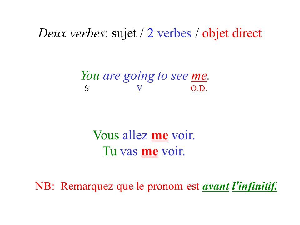 Deux verbes: sujet / 2 verbes / objet direct You are going to see me. S V O.D. Vous allez me voir. Tu vas me voir. NB: Remarquez que le pronom est ava