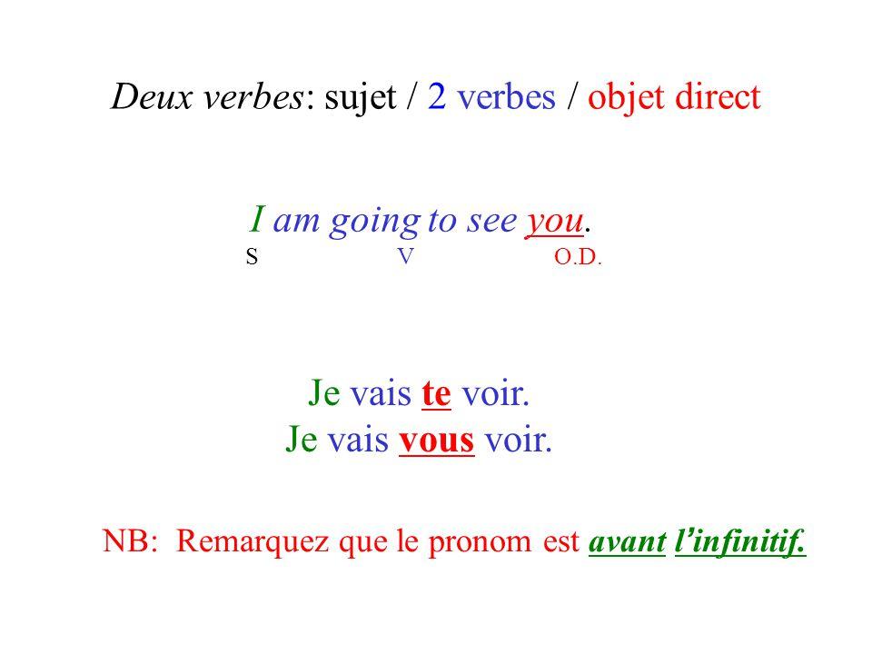 Deux verbes: sujet / 2 verbes / objet direct I am going to see you. S V O.D. Je vais te voir. Je vais vous voir. NB: Remarquez que le pronom est avant