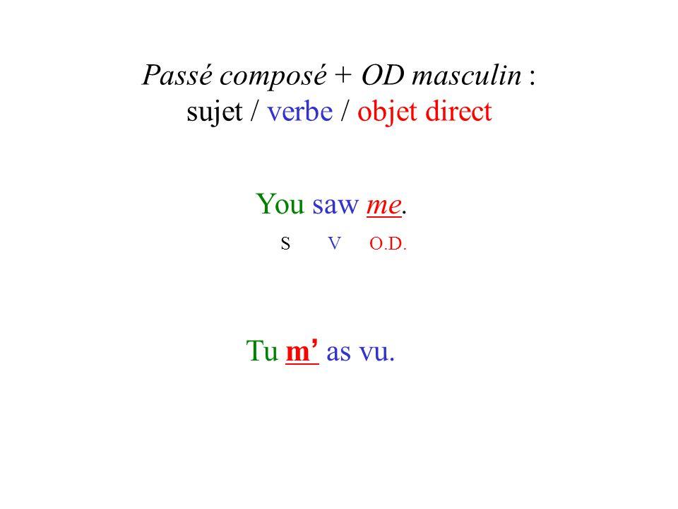 Passé composé + OD masculin : sujet / verbe / objet direct You saw me. S V O.D. Tu m ' as vu.