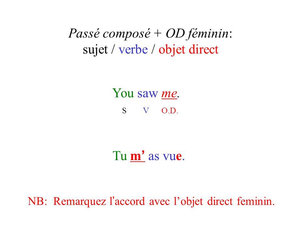 Passé composé + OD féminin: sujet / verbe / objet direct You saw me. S V O.D. Tu m ' as vue. NB: Remarquez l ' accord avec l'objet direct feminin.