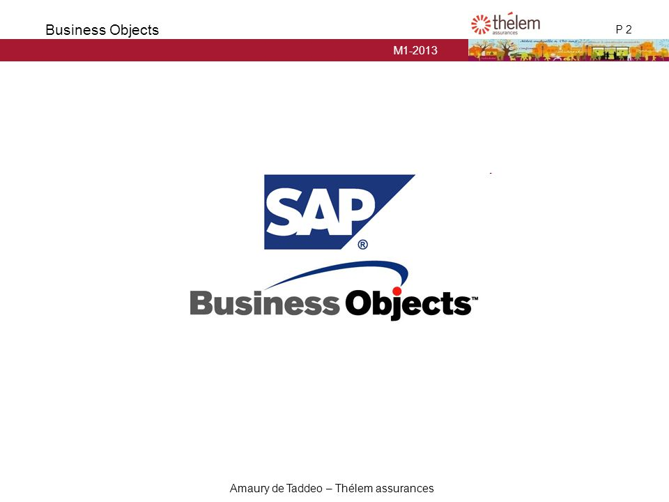 M1-2013 P 2 Business Objects Amaury de Taddeo – Thélem assurances