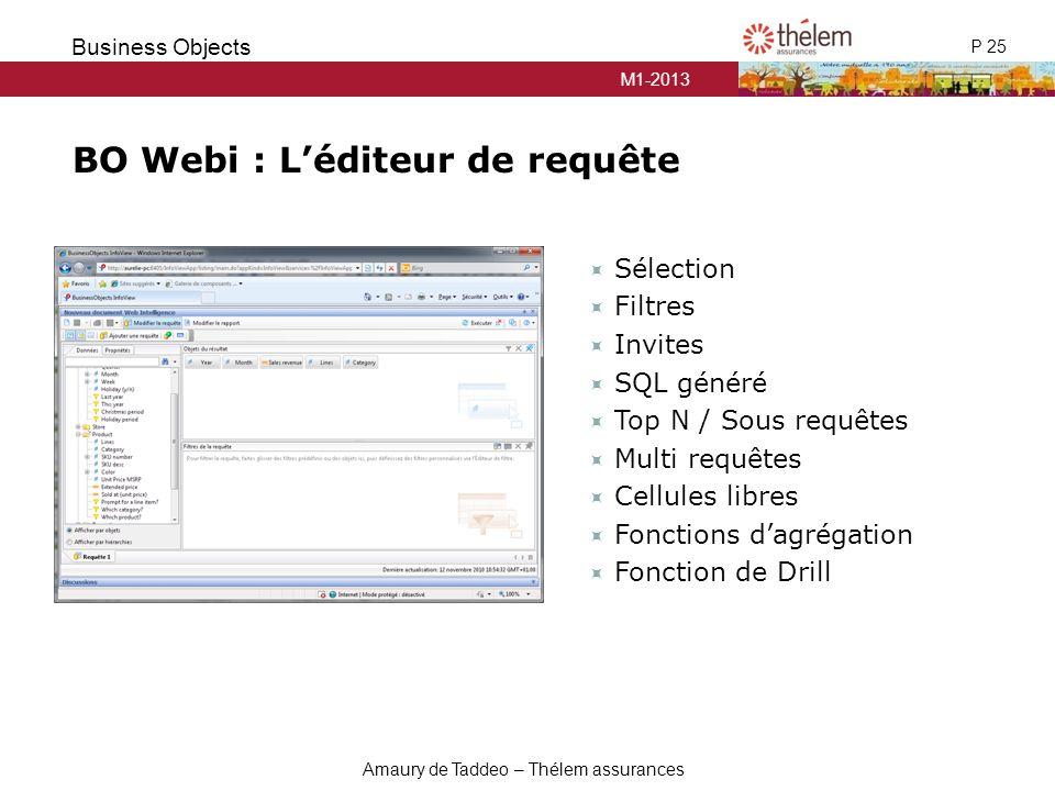 M1-2013 P 25 Business Objects Amaury de Taddeo – Thélem assurances  Sélection  Filtres  Invites  SQL généré  Top N / Sous requêtes  Multi requêt