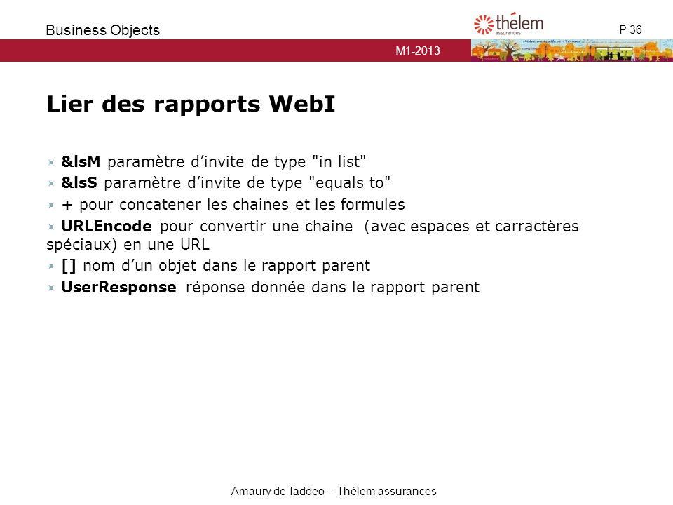 M1-2013 P 36 Business Objects Amaury de Taddeo – Thélem assurances Lier des rapports WebI  &lsM paramètre d'invite de type