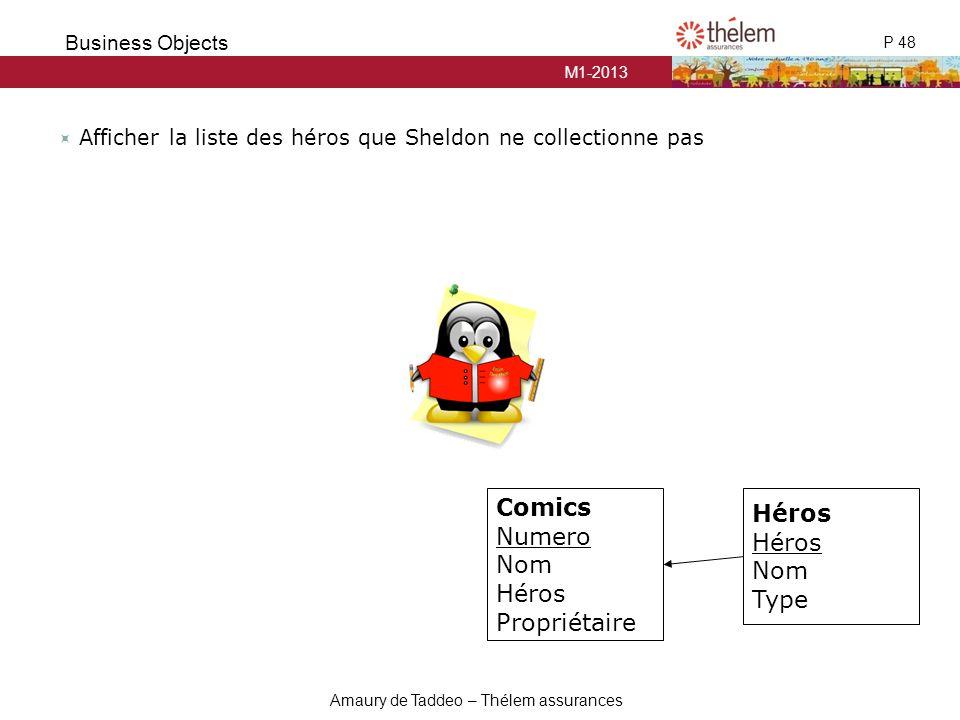 M1-2013 P 48 Business Objects Amaury de Taddeo – Thélem assurances  Afficher la liste des héros que Sheldon ne collectionne pas Comics Numero Nom Hér