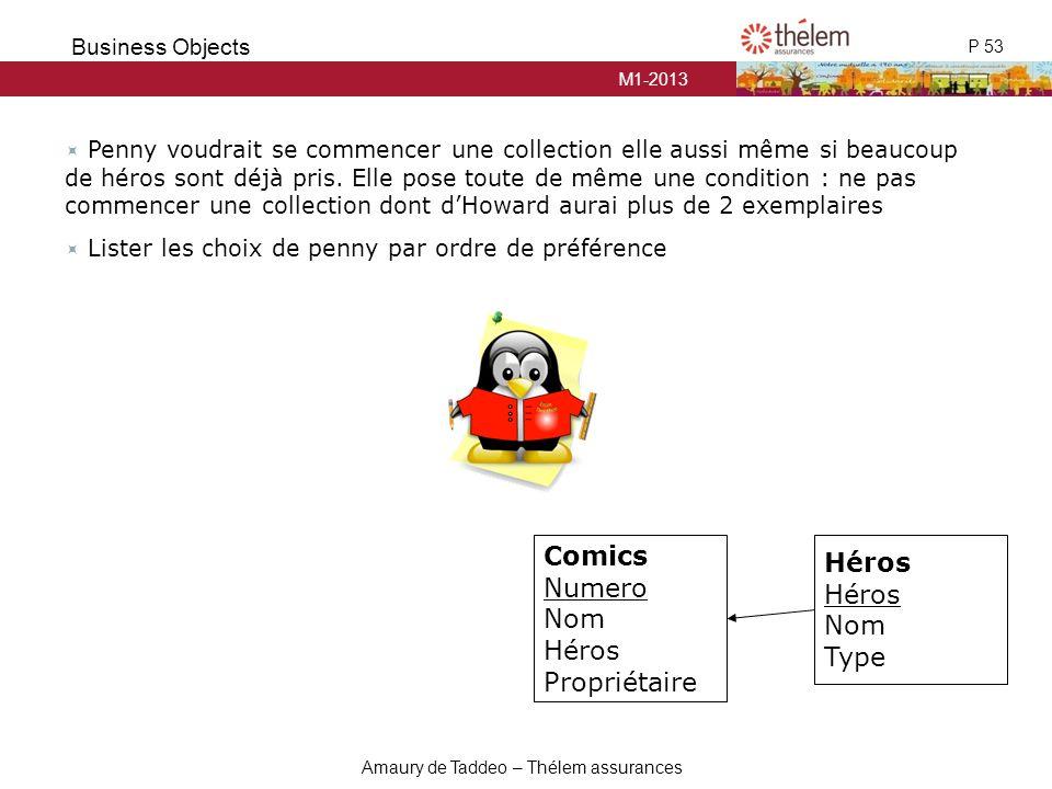 M1-2013 P 53 Business Objects Amaury de Taddeo – Thélem assurances  Penny voudrait se commencer une collection elle aussi même si beaucoup de héros s