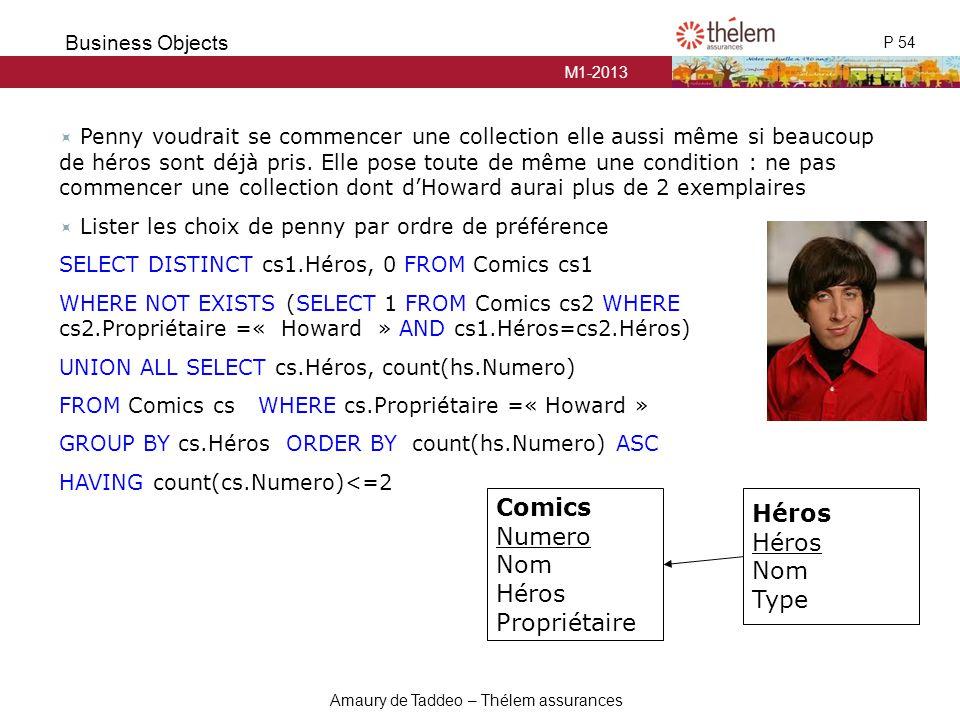 M1-2013 P 54 Business Objects Amaury de Taddeo – Thélem assurances  Penny voudrait se commencer une collection elle aussi même si beaucoup de héros s