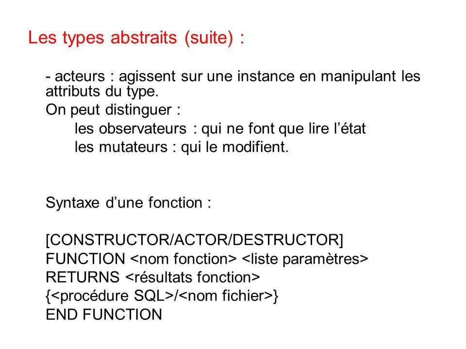 Les types abstraits (suite) : - acteurs : agissent sur une instance en manipulant les attributs du type. On peut distinguer : les observateurs : qui n