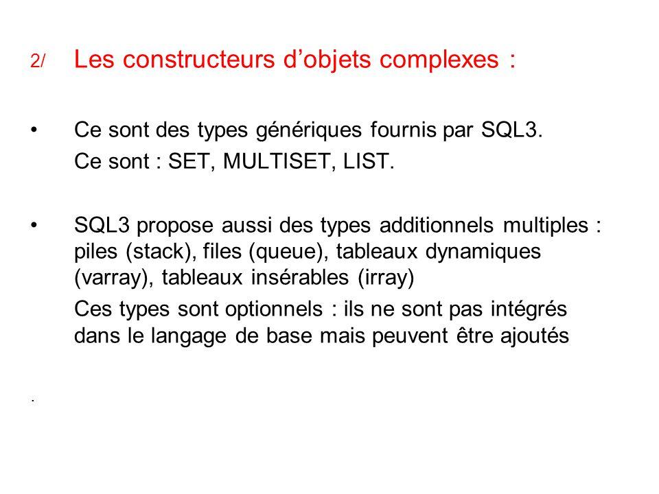 2/ Les constructeurs d'objets complexes : Ce sont des types génériques fournis par SQL3. Ce sont : SET, MULTISET, LIST. SQL3 propose aussi des types a