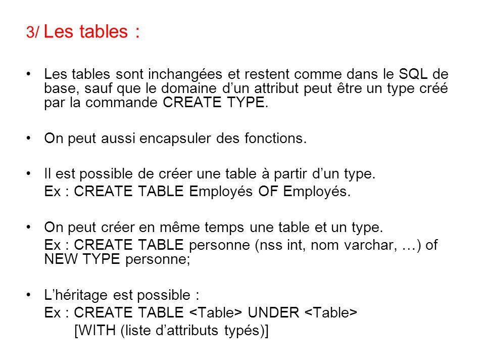 3/ Les tables : Les tables sont inchangées et restent comme dans le SQL de base, sauf que le domaine d'un attribut peut être un type créé par la comma