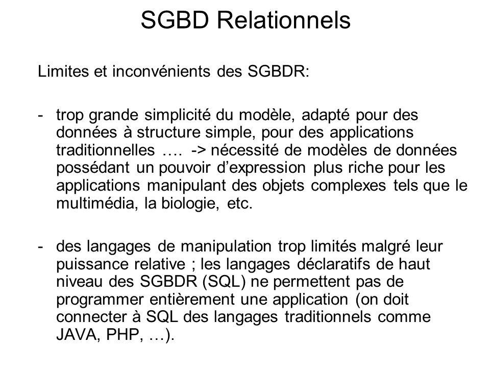 SGBD Relationnels Limites et inconvénients des SGBDR: -trop grande simplicité du modèle, adapté pour des données à structure simple, pour des applicat