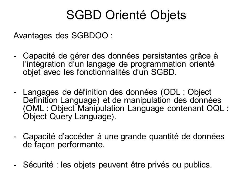 SGBD Orienté Objets Avantages des SGBDOO : -Capacité de gérer des données persistantes grâce à l'intégration d'un langage de programmation orienté obj