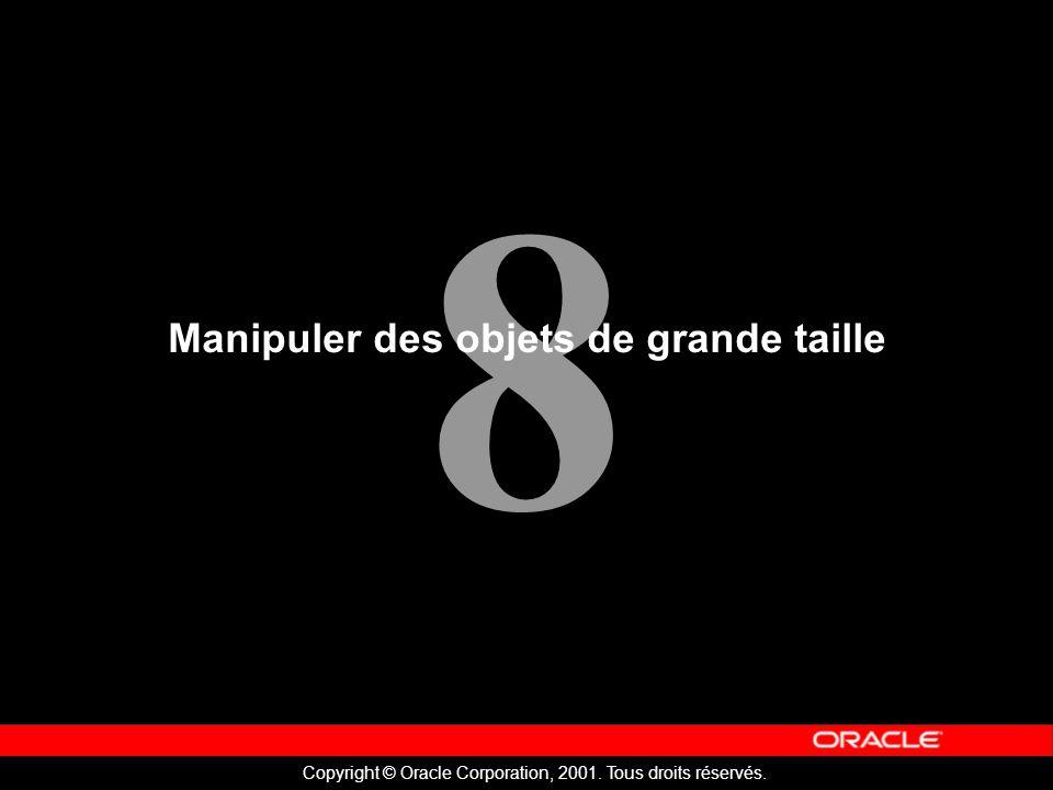8 Copyright © Oracle Corporation, 2001. Tous droits réservés. Manipuler des objets de grande taille