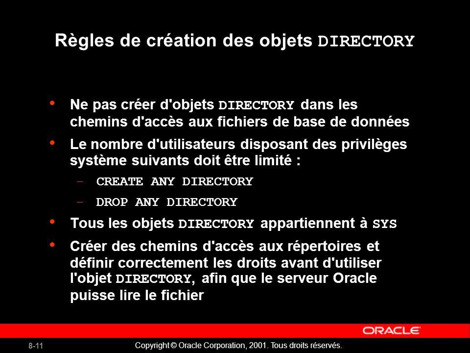 8-11 Copyright © Oracle Corporation, 2001. Tous droits réservés.
