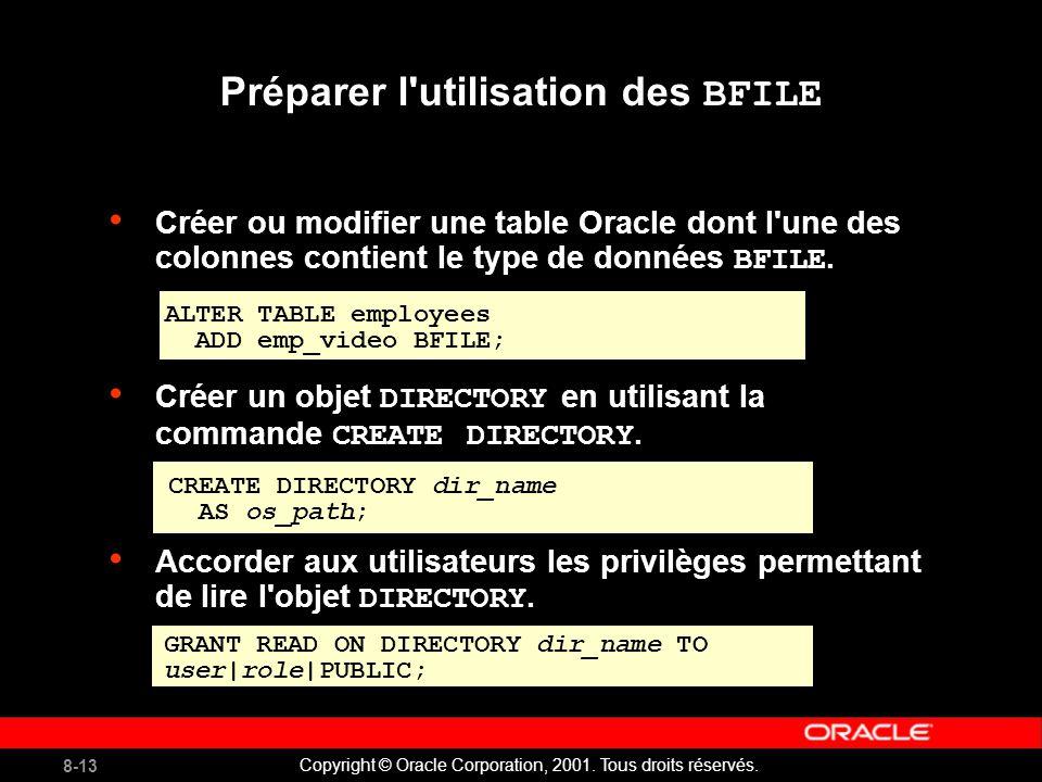 8-13 Copyright © Oracle Corporation, 2001. Tous droits réservés.